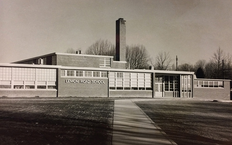 Black and white photograph of the main entrance to Lemon Road Elementary School. The picture appears to have been taken in the late 1950s or early 1960s.