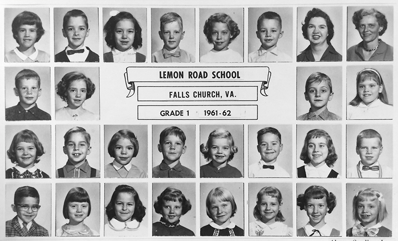 Lemon Road Elementary School Yearbook from the 1961 to 1962 school year. The portraits are of children in 1st grade. 26 children are pictured, as well as their teacher and principal.